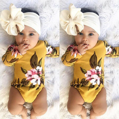 US Stock Newborn Baby Kid Girl Long Sleeve Floral Romper+Headband Cotton Outfits