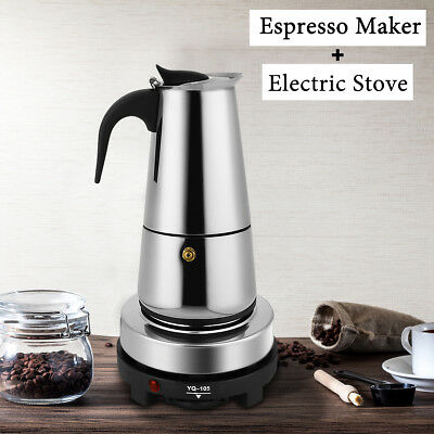 Electric Espresso Moka Coffee Maker Pot Stove Stainless Steel Percolator 6-Cup