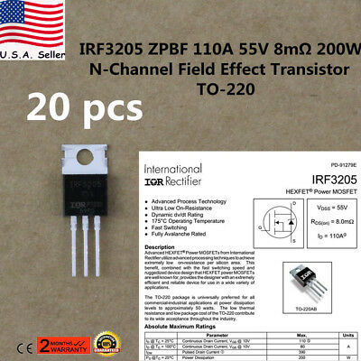 20x IRF3205 MOSFET N-CHANNEL 55V/110A TO-220 HEXFET Power Transistor IRF3205ZPBF