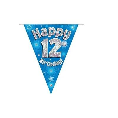 Happy 12th Birthday Holographic Bunting 3.9 metres long 11 Flags Blue & Silver