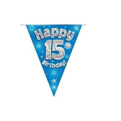 Happy 15th Birthday Holographic Bunting 3.9 metres long 11 Flags Blue & Silver