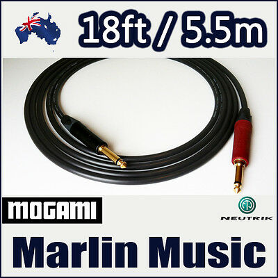 Neutrik Silent Plug Guitar Bass 18ft Instrument Cable - Mogami 2524 - SS [S]