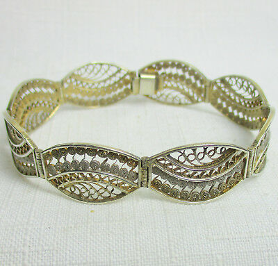 Antique FILIGREE 800 Sterling Silver Estate Bracelet - GORGEOUS, HANDMADE