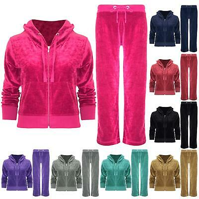 Womens Ladies Velvet Velour Hoodies Hooded Joggers Loungewear 2PCS Tracksuit Set