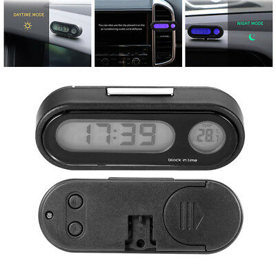 Clip-on Digital LCD Thermometer + Clock For Car Bicycle Motorcycle Auto Truck