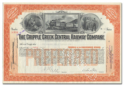 Cripple Creek Central Railway Company Stock Certificate