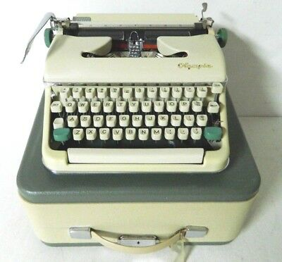 Vintage 1962 Olympia SM5 Cream/White/Green Typewriter - Tested Working Cleaned