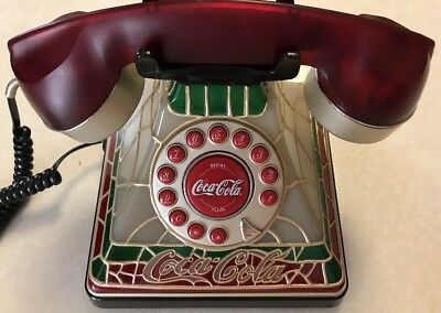 COCA COLA Phone Coke LIGHTED STAINED GLASS Look TELEPHONE Collectable