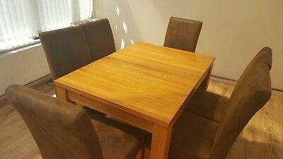 Solid Oak Extending Dining Table 6 Highback Chairs Plus Matching Unit.
