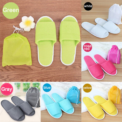 Travel Breathable Non Disposable Slippers Foldable Hotel SPA + Storage Bag PP