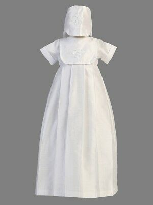 Boys 2 pcsTraditional Long Christening Baptism Gown Cross Applique Hat Bib 6-9 M