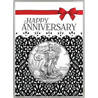 2019 Silver American Eagle BU in Happy Anniversary Red Bow Gift Holder