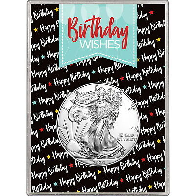 2019 Silver American Eagle BU in Birthday Wishes Balloons Gift Holder
