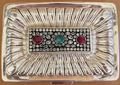 Fabulous Large Jewelled    Sterling Silver Box Ruby Emerald Sapphires Sepl India