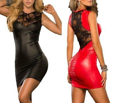 Damen Sexy Wetlook Kleid Minikleid Lack-Optik Glänzend Spitze Abendkleid Party