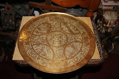 Antique Chinese Brass Metal Circular Serving Tray-Engraved Birds Flowers Symbols