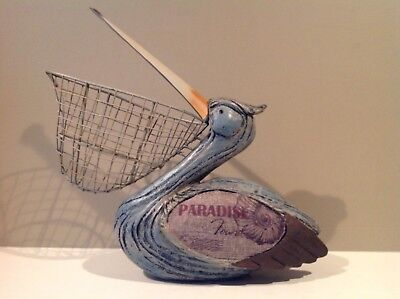 Resin Pelican Paradise Figurine with Wire Basket Beak