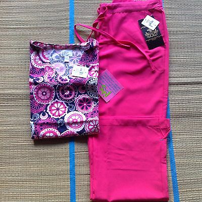 Women S HotPink ScrubSet With Peaches Sport Print Top & MedCouture Gold P Pant