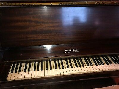 """1920 antique Shoninger upright small """"ladies"""" piano very good condition."""
