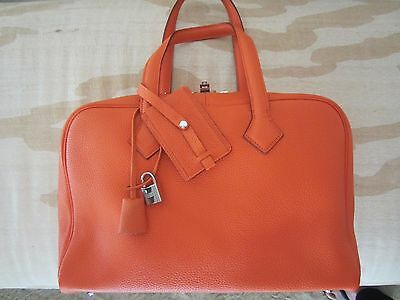 1659a8bd984e AUTHENTIC HERMES VICTORIA Ii Fire Orange Taurillon Clemence Leather ...