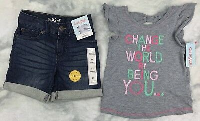 Girl's Cat & Jack 2 Piece Outfit T-Shirt & Denim Shorts NWT SIZE 2T