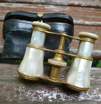 Antique LeMaire Paris Opera Glasses with Case Mother of Pearl