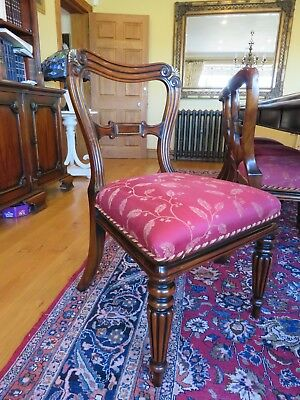 set of 10 solid mahogany hand carved Georgian Style dining chairs