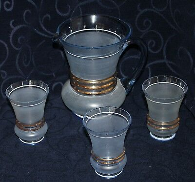 vintage blue frosted glass water set jug glasses gold trim 4 pce set drinks set