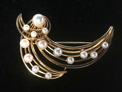 Vintage Mikimoto 14k Gold Cultured Pearl Leaf Design Brooch Pin *Free Shipping*