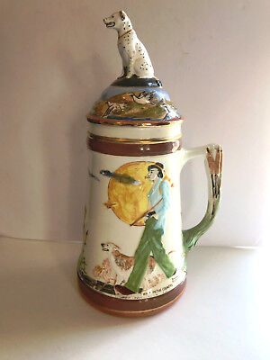 """Vintage 15"""" Tall Decorative Ceramic Beer Stein with Lid"""
