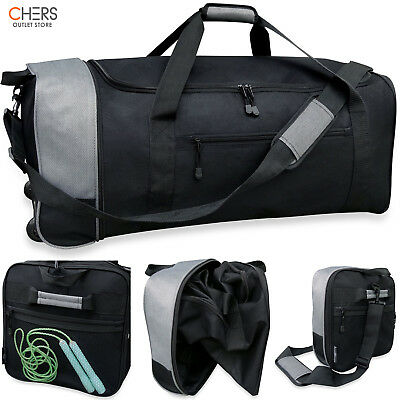 4bb063a361c9 32 In Travelers Folding Luggage Duffle Wheels Webbing hand Shoulder Side  Pockets