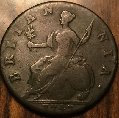 1747 Uk Gb Great Britain Geo Ii Halfpenny