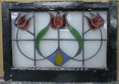 "OLD ENGLISH LEADED STAINED GLASS WINDOW Triple Floral Wow! 21"" x 15"""