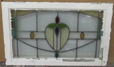 "MID SIZED OLD ENGLISH LEADED STAINED GLASS WINDOW Marvelous Floral 26.75"" x 17"""