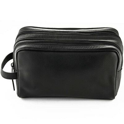 1090f1d564d5 Sonnenschein Double Zip Black Leather Toiletry Bag Men Dopp Kit Genuine  German M