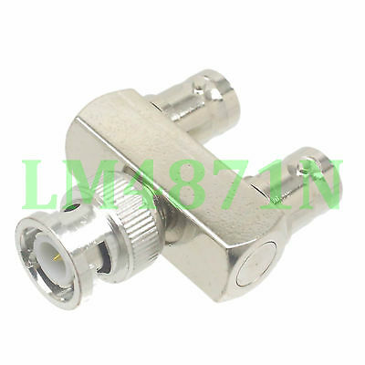 1pce Adapter BNC male plug to 2x BNC female jack Y type Splitter connector 1M2F