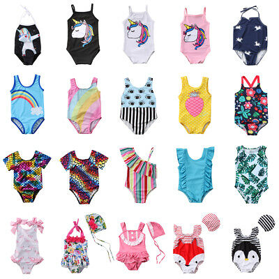 US Stock Kid Baby Girl Unicorn Tankini Bikini Swimwear Swimsuit Beachwear Outfit
