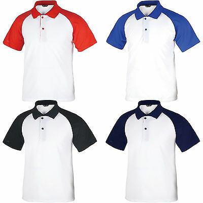 Mens Baseball Polo Collar Pique PK Raglan T-Shirt Short Sleeve Shirts Classic