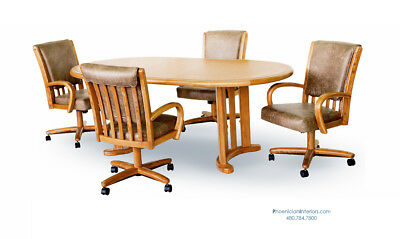 Caster Dining Chairs and Table 5 PIECE SET Oak or Dark Walnut Made In USA