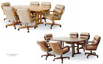 6 Caster Roller Dining Chairs and Table Set Oak or Dark Walnut 7 PIECE SET