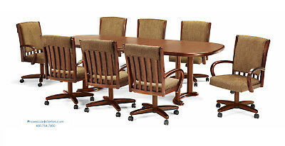 8 Caster Roller Dining Chairs and 8 Foot Dining Table Set in Oak or Dark Walnut