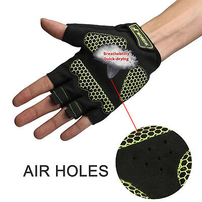Outdoor Cycling Bicycle Bike Gloves Airhole Sports Racing Riding Half Finger (M)