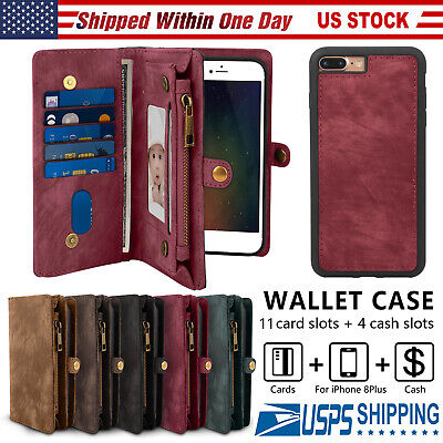 2In1 Leather Wallet Magnetic Flip Stand Card Case Cover for iPhone X 8 7 6S Plus