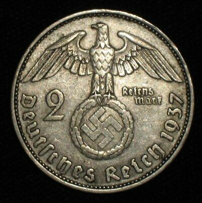 1937-A, 2 Reichsmark from Nazi Germany.  No Reserve!!