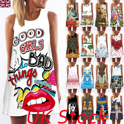 Womens Summer Holiday Sleeveless Beach Short Mini Dress Ladies Long Tops T Shirt