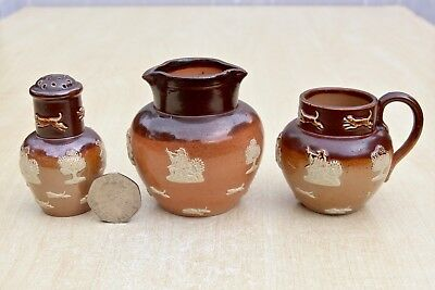 VINTAGE TWO MINIATURE DOULTON LAMBETH SPRIGGED STONEWARE JUGS No 34657 & No 2891