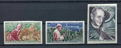 36422) DAHOMEY 1966 MNH** Pope Paolo VI visit ONU 3v IMPERFORATED