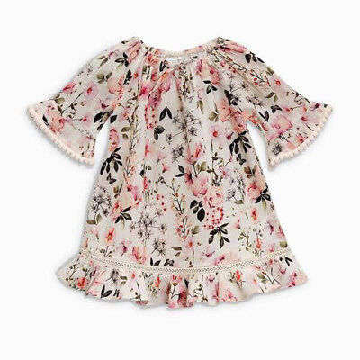 AU Kid Baby Girl Floral Tassel Short Sleeve Party Pageant Dress Sundress Clothes