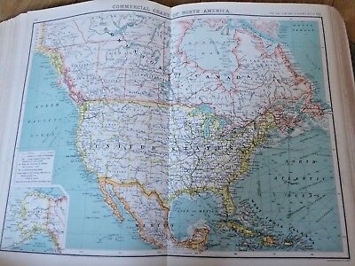 1903 J G Bartholomew Commercial Chart of North America Antique Map