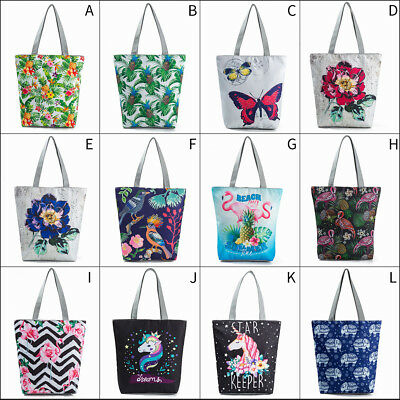 Women Unicorn Flamingo Canvas Tote Shoulder Shopping Bag Beach School Handbag